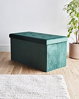 Green Velvet Storage Ottoman