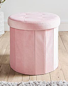 Blush Round Velvet Storage Box