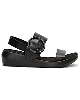 Fly London Bani Leather Big Buckle Sandals Standard Fit