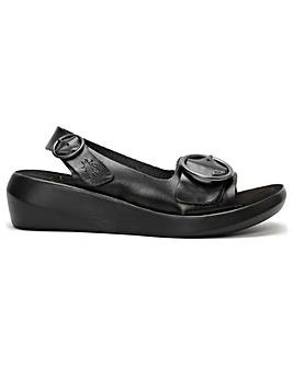 Fly London Berk Leather Double Buckle Sandals Standard Fit