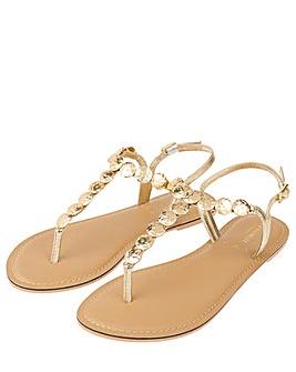 Accessorize Athena Coin Metallic Sandals