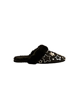 Monsoon Sequin Star Faux Fur Slippers