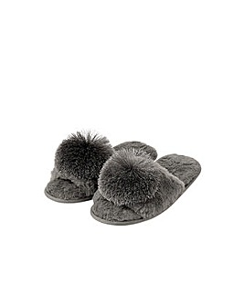 Monsoon Faux Fur Pom-Pom Slippers