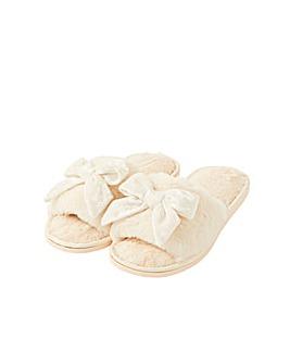 Monsoon Velvet Bow Faux Fur Slippers