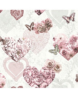 Arthouse Floral Hearts Wallpaper
