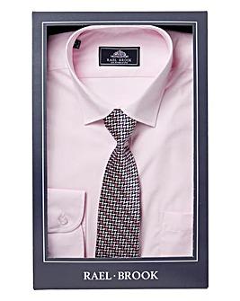 Rael Brook Pink Boxed Long Sleeve Shirt And Tie Set Regular