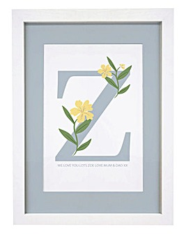 Floral Initial A4 Framed Print