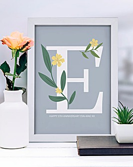 Floral Initial A3 Framed Print