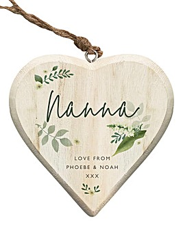 Personalised Floral Wooden Hanging Heart