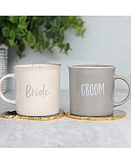 Bride and Groom Mug Set