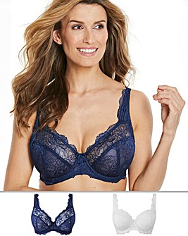 2Pack Ella Lace Full Cup Navy/White Bras