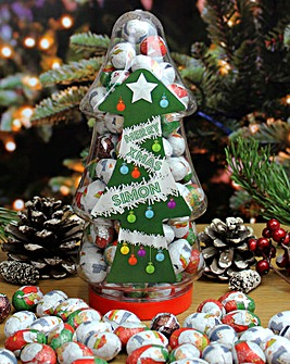Personalised Christmas Tree Chocolate Jar