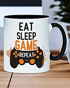 Personalised Eat Sleep Game Repeat Mug