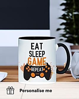 Personalised Eat Sleep Game Repeat Mug