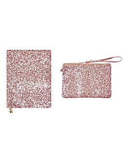 Rose Gold Sparkle Journal and Pouch Set