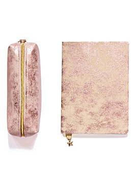Blush Stain Notebook and Pencil Case Set