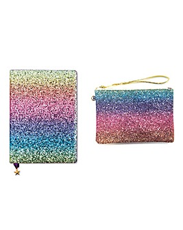 Rainbow Sparkle Notebook and Pouch Set