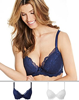 2Pack Ella Lace Plunge Navy/White Bras