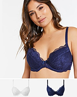 Pretty Secrets 2Pack Ella Lace Padded Plunge Navy/White Bras