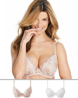 2Pack Ella Lace Plunge Blush/White Bras