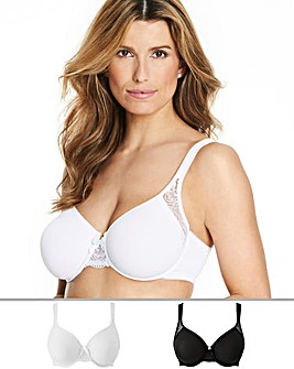 Pretty Secrets 2Pack Ella Lace Moulded Non Padded White/Black Bra