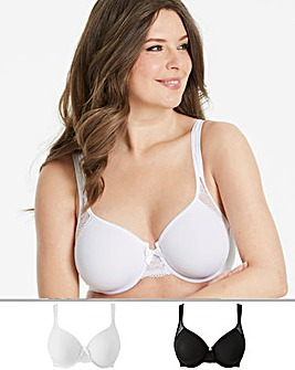 2Pack Ella Lace Moulded White/Black Bra