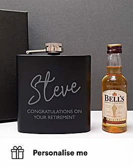 Personalised Black Hip Flask and Bells