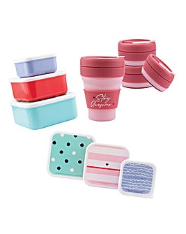Joyful Life Set of 3 Lunch Boxes & Collapsible Travel Mug