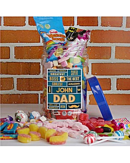 Personalised Best Dad Retro Sweet Jar