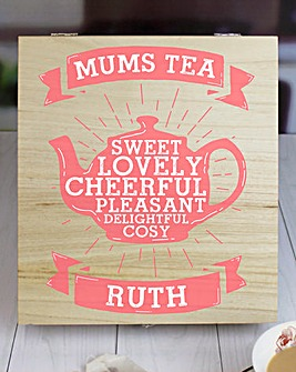 Personalised Mums Wooden Tea Chest