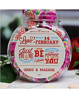 Personalised Be My Valentine Sweet Jar
