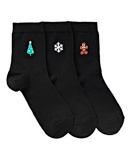 3 pack Christmas Embroidered Socks