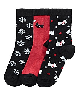 3 Pack Scotty Dog Christmas Socks
