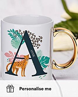 Leopard Initial Gold Handled Mug