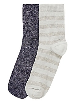 2 Pack Glitter & Stripe Socks
