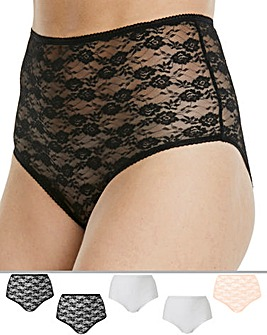 Pretty Secrets 5 Pack Black/White/Blush Lace Full Fit Briefs