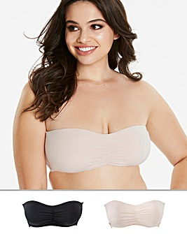 MAGISCULPT 2 Pack Black/Blush Smoothing Moulded Padded Bandeau