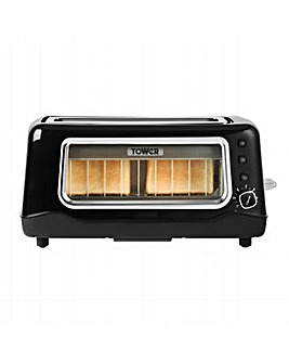 Tower 2 Slice Long Slot Glass Toaster Black