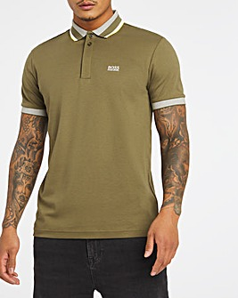 BOSS Short Sleeve Green Slim Fit Tipped Collar Polo