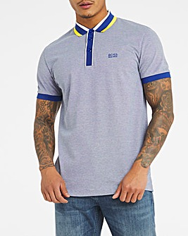 BOSS Blue Short Sleeve Fit Tipped Collar Polo