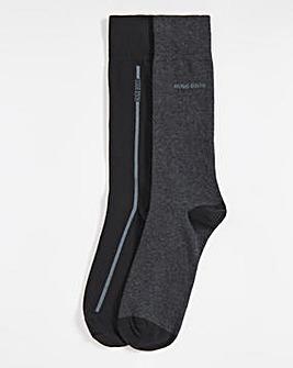 BOSS Charcoal 2 Pack Logo Stripe Sock