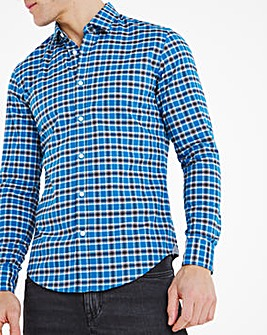 BOSS Long Sleeve Check Shirt - Turquoise