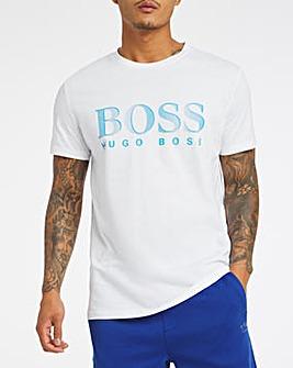 BOSS White UPF 50+ Logo Beach T-Shirt