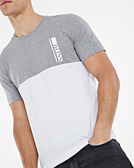 BOSS Short Sleeve Colourblock Logo T-Shirt - Light Grey