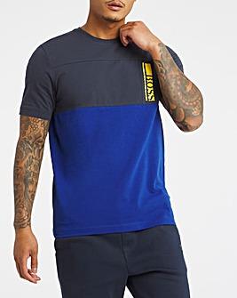 BOSS Navy Short Sleeve Colourblock Logo T-Shirt
