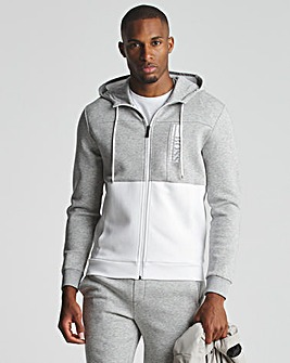 BOSS Grey White Colourblock Zip Through Hoodie