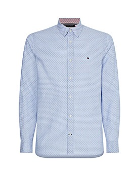 Tommy Hilfiger Light Blue Long Sleeve Dotted Print Shirt