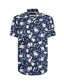 Tommy Hilfiger Blue Short Sleeve Floral Camo Shirt