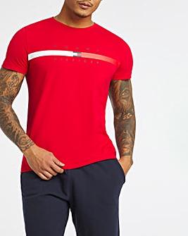 Tommy Hilfiger Red Short Sleeve Global Stripe T-Shirt