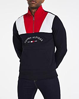 Tommy Hilfiger Colourblock Navy Mock Neck Sweat